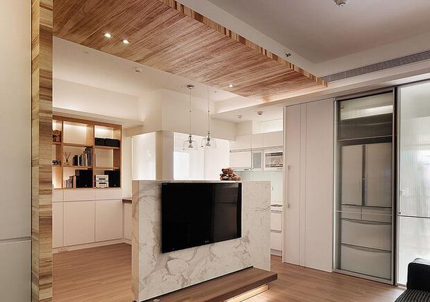 家居案例:简约风格半高隔断电视背景墙