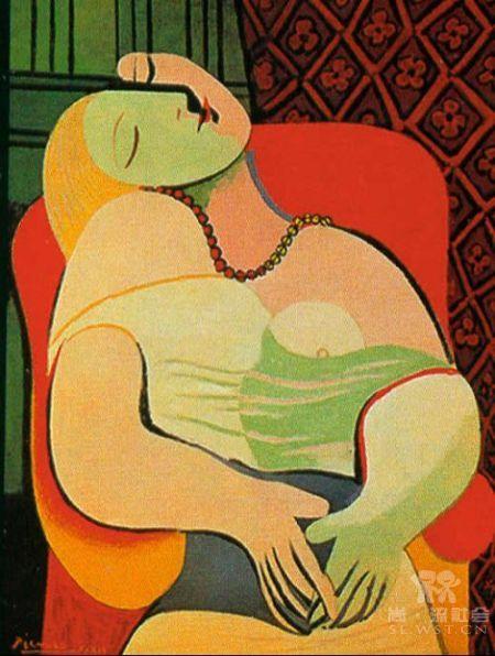 早教卡宝宝挂图学前教育世界名画油画 毕加索 梦 相纸高清图片